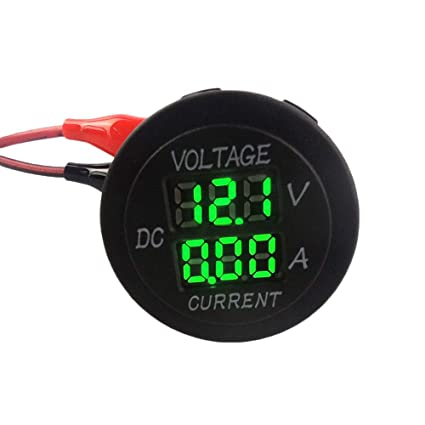 WATERWICH DC12-24V//0.1-10A Dual LED Digital Multimeter Amp Voltage Meter 2-in-1 Current Tester and Voltage Tester for Boat Marine Vehicle Truck ATV Car Camper LED Round Panel Green