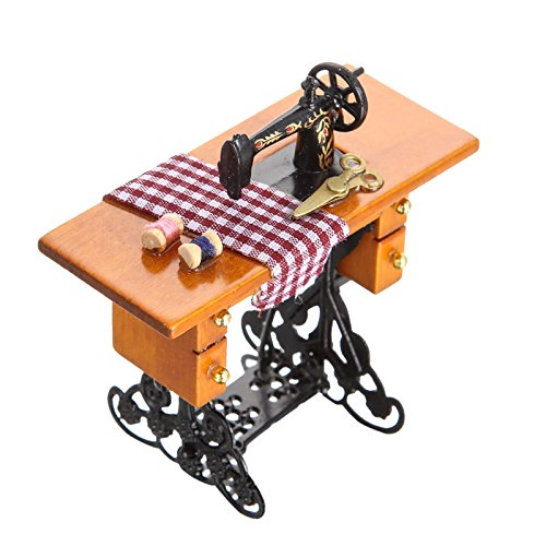 Barbie Doll 1:12 Toy Vintage Miniature Sewing Machine Furniture Toys for House Decor Retro Children Toys Accessories Gift ZG0007