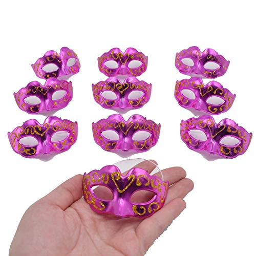 Yiseng Mini Masquerade Mask Party Decoration 10pcs Set Supper Small Masks Mardi Gras Halloween Party Decor Kids Favors -