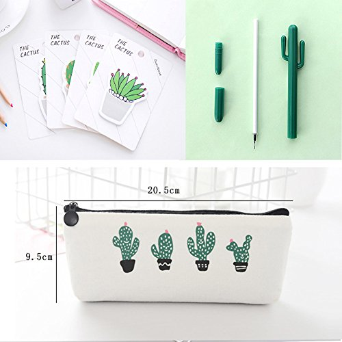 Cactus Ballpoint Pen, 6 pcs Cute Cactus Premium Black Gel Ink Office Writing Pens with Cactus Canvas Pen Case Pencil Bag for School Office Supply Gift Stationery(Cactus Pen set) by wanxing (Image #3)