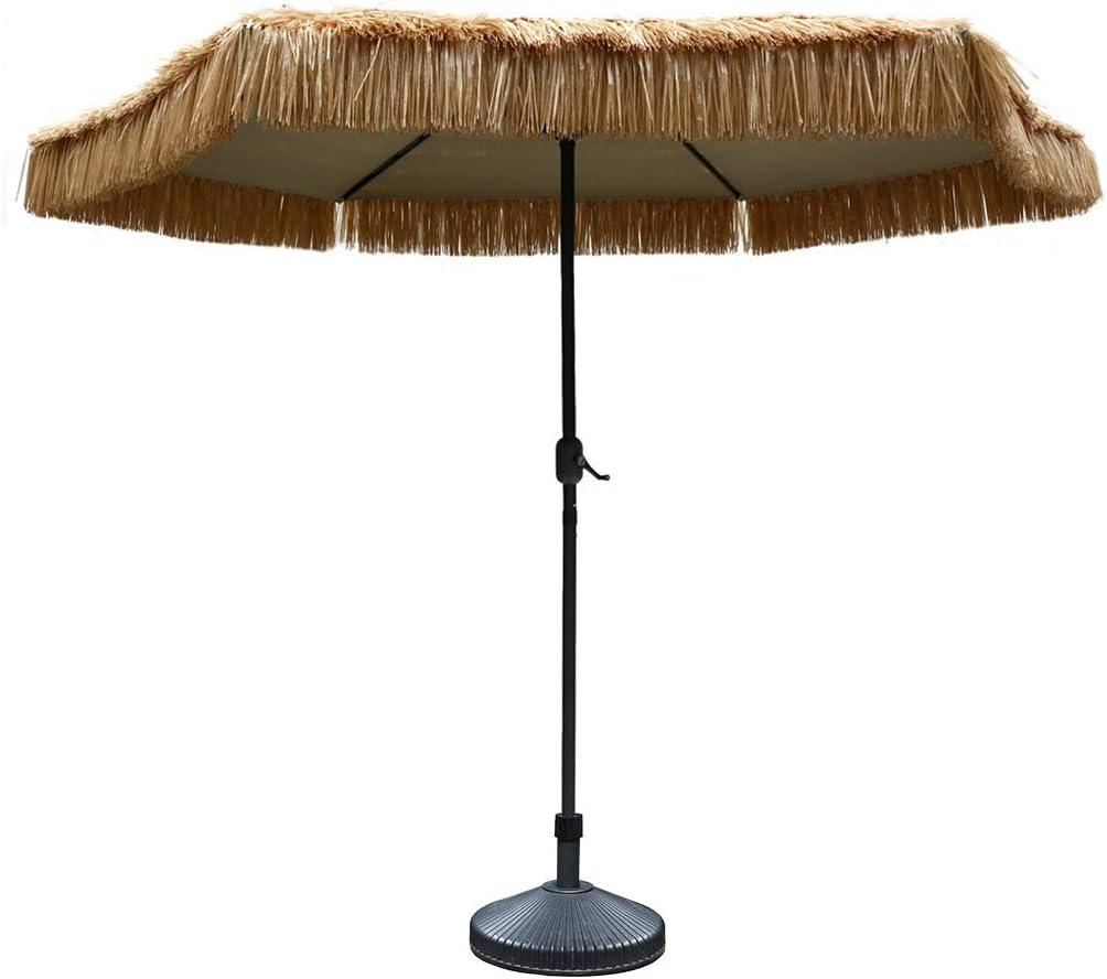ZJDMF Sombrilla de Playa Hawaiana con Techo de Paja Sombrilla de Jardín de 8.85 Pies de Diámetro Toldo Retro Decorativo para Bares, Terrazas, Piscinas, Hoteles