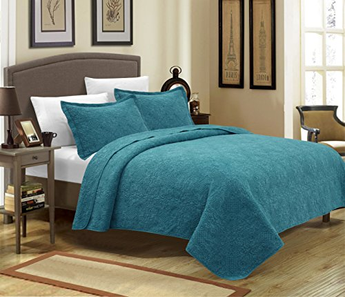 Mk Collection 3pc Crafted and quilted Bedspread with New Material Handcrafted solid quilt with intricate stitch pattern Turquoise Color (King) (Turquoise King Quilt compare prices)