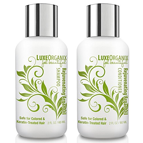 LuxeOrganix Travel Shampoo and Conditioner Set, Sulfate Free, Safe for Color Treated, Keratin Treated Hair - Moroccan Argan Oil (2.0 oz each)