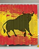 Ambesonne Spanish Bull Antiqued Aged Symbol Spaniard Icon Spain Flag Grunge Digital Clip Art Funky Lovely Decor Print Home Bathroom Design Set Polyester Fabric Shower Curtain Red and Yellow