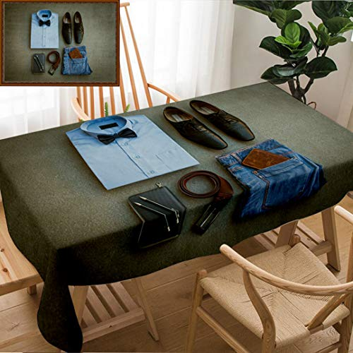 Unique Custom Design Cotton and Linen Blend Tablecloth Men S Casual Outfits with Blue Jean Brown Wallet Brown Belt Shoes Blue Shirt and Bow Tie OnTablecovers for Rectangle Tables, 78