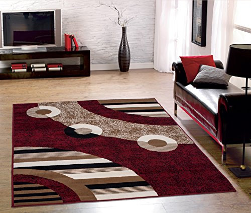 Sweet Home Stores Modern Circles Design  - Circles Red Area Rug Shopping Results