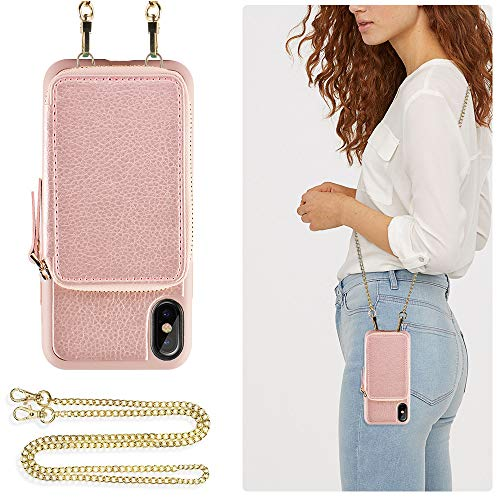 ZVE Wallet Case for Apple iPhone Xs and X 5.8 inch, Leather Wallet Case with Crossbody Chain Credit Card Holder Slot Zipper Shoulder Handbag Pocket Purse Case for Apple iPhone X and XS - Rose Gold Cross Cell Phone Case