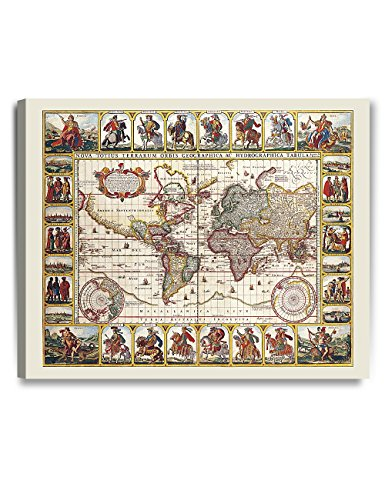 DECORARTS 1652 world map by Claes Janszoon Visscher. Ancient Map Giclee Print Canvas art wall decor. Vintage style Decoration. 30x24 x 1.5
