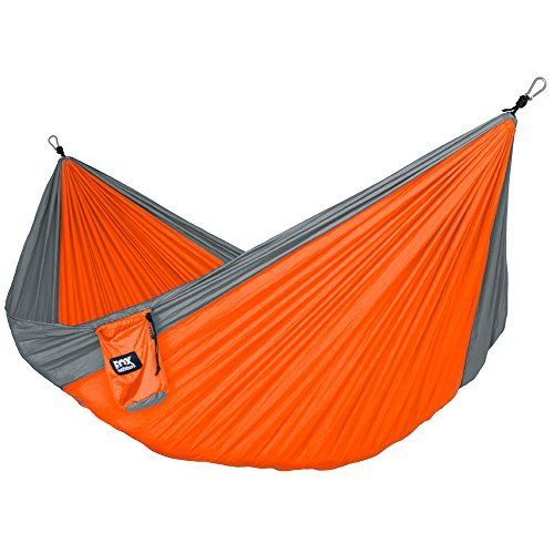 Fox Outfitters Neolite Double Camping Hammock - Lightweight Portable Nylon Parachute Hammock for Backpacking, Travel, Beach, Yard. Hammock Straps & Steel Carabiners (Best Fox Outfitters Beach Chairs)