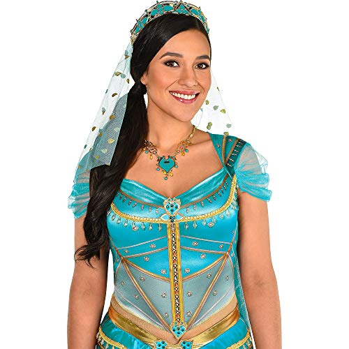 Party City Aladdin Jasmine Accessory Supplies for Adults, Include a Teal and Gold Tiara with a Veil and a -