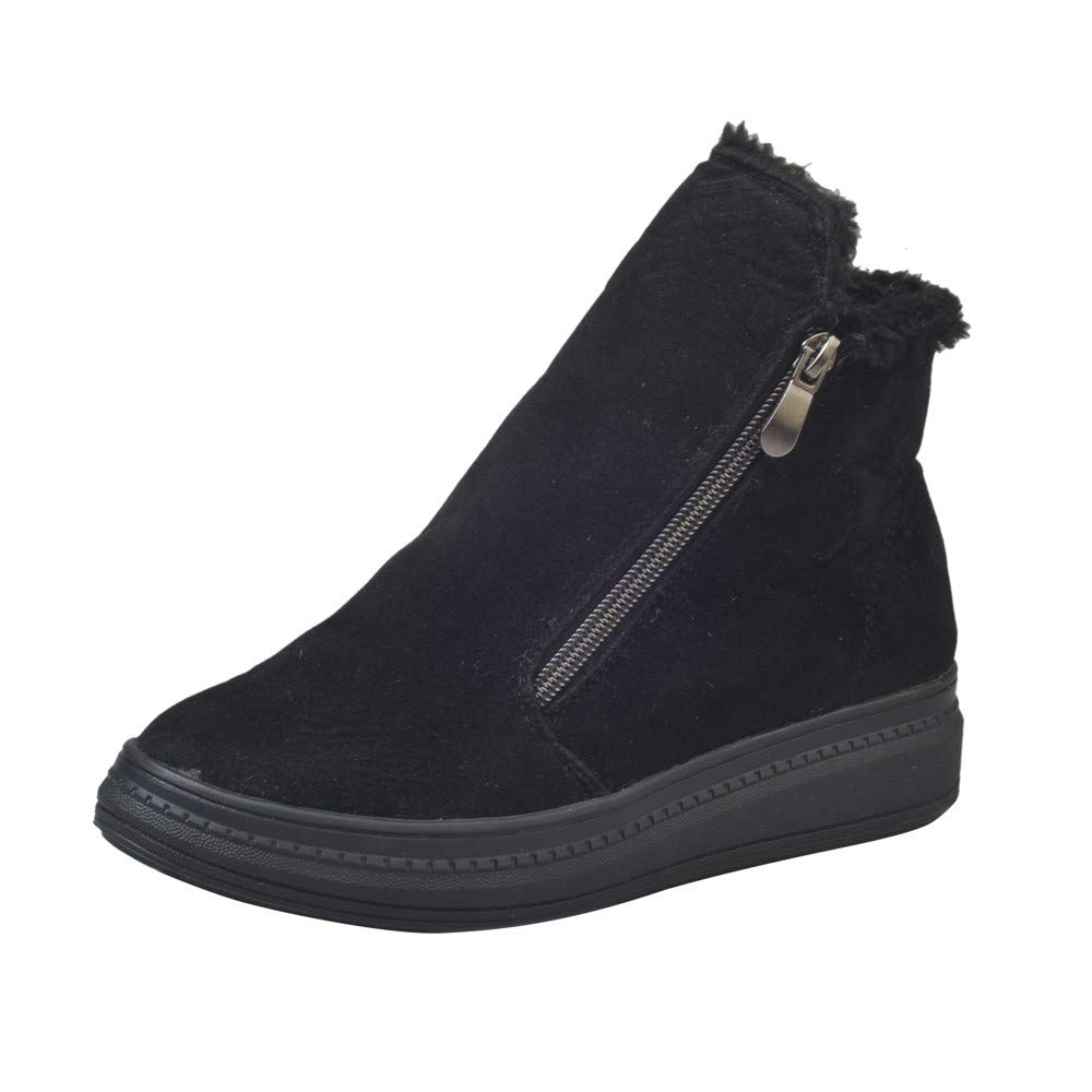 Womens Chelsea Boots, Winter High-top Flat Bottom Martin Ankle Boots Platform Chunky Thick-Soled Shoes Size 5.5-8 (Black, 6 B(M) US)