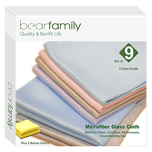 Window Cleaning Pack (Bear Family Microfiber Glass Cleaning Cloths - Lint Free - Streak Free | Quickly and Easily Clean Windows & Mirrors Without Chemicals with 2 bonus Cloth Pack of 11, Mix color)