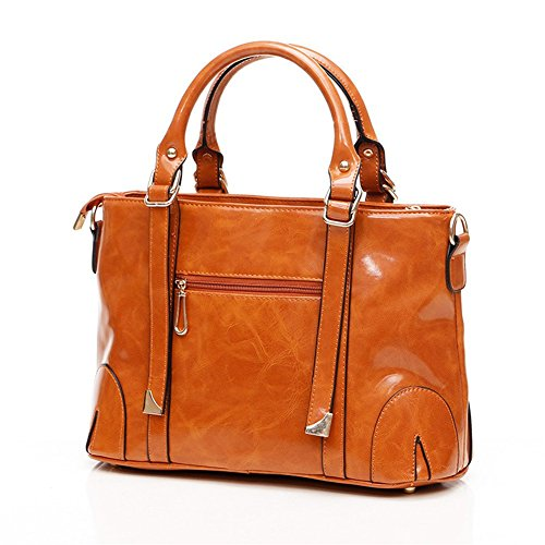 QCKJ-Borsa a spalla da donna, in ecopelle, colore: marrone con Bandbag