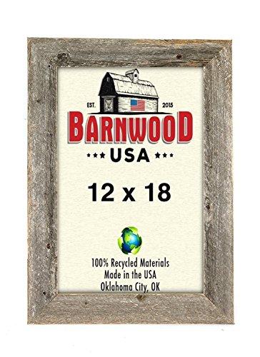 BarnwoodUSA Rustic Photo Frames 1 1/2 Inch Wide - 100% Reclaimed Wood, Weathered Gray (12x18)