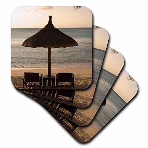 (Bar Coasters Mauritius Beach Scene Umbrella Chairs Palm Fronds Rubber Decorative Coasters Set of 4 Cup Mat)