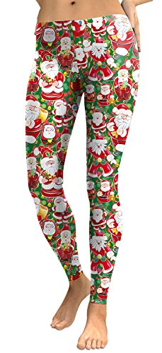 Red Santa Claus Stripe Printed Leggings Ugly Christmas Pajama Pants for Women (Crazy Stripe Tights)