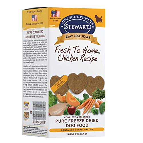 Stewart Raw Naturals Freeze Dried Patties Grain Free Made in USA with Chicken, Fruits, & Vegetables for Fresh To Home All Natural Recipe, Small