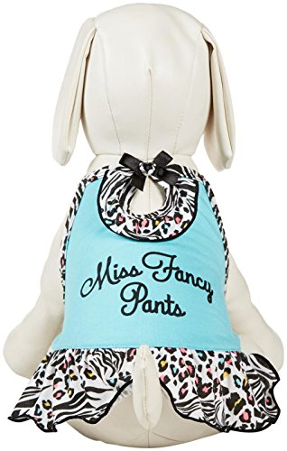SimplyDog Miss Fancy Pants Strappy Dog Dress - Blue and Black - Medium