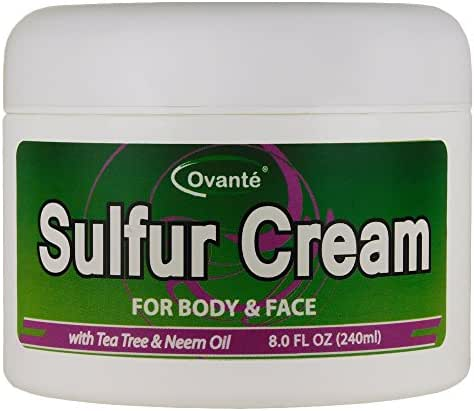 Sulfur Skin Cream (8 oz. 240 mL) Antifungal Healing Cream for Jock Itch, Ringworm, Athlete's Foot, Wounds, Skin Rashes