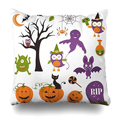 Suesoso Decorative Pillows Case 18 X 18 Inch Halloween Elements Clipart Set Throw Pillowcover Cushion Decorative Home Decor Garden Sofa Bed Car