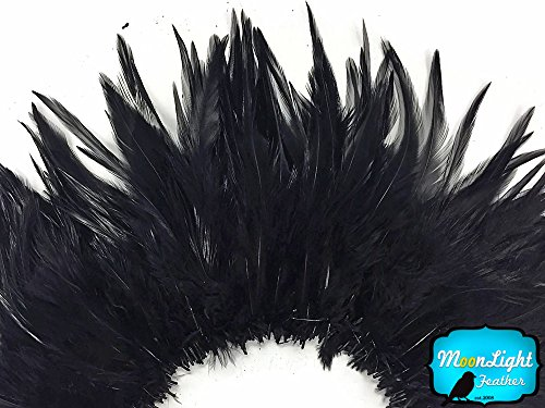Rooster Feathers, 1 Yard Black Strung Chinese Rooster Saddle Feathers