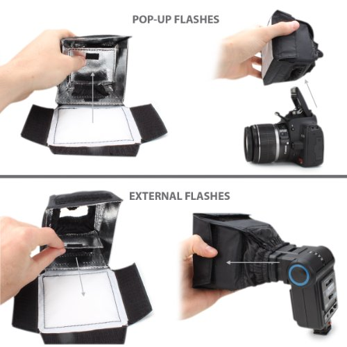 ENHANCE Camera Light Diffuser Softbox for Pop Up and External Speedlites with Foldable, Universal Design, Compatible with Neewer, Altura, Youngnuo and More Speedlite Flashes
