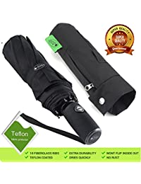 automatic Compact Travel Umbrella Windproof - Unbreakable Double Canopy Construction by With Teflon Coating Auto Open Close Button umbrellas