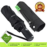 "Outdew ""Unbreakable"" Windproof Compact Travel Black 210T Fabric Umbrella with Teflon Coating Lightweight for Men Women and Kids Auto Open Close with 10 fiberglass ribs"