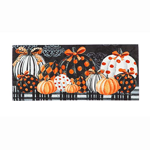 Evergreen Flag Elegantly Patterned Pumpkins Interchangeable Outdoor and Indoor-Safe Durable Sassafras Switch Mat, 22 x 10 inches