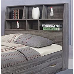 Benzara Contemporary Style Gray Finish Twin Size Bookcase Six Shelves Headboard