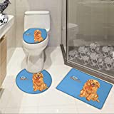 Golden Retriever toilet floor mat set Cute Puppy Sleeping on a Pillow in Cartoon Style for Kids 3 Piece Toilet Cover set Pale Orange and Baby Blue