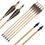 """IRQ 32inch Wooden Arrows 5"""" Turkey Natural Feather Fletching with Field Points Archery Wood Hunting Arrows for Recurve Bow Longbow"""