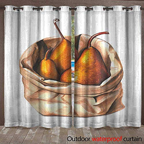 Grommet Top Curtain Hand Drawn Aquarelle Colorful Illustration Watercolor Artwork Three Sweet Golden Pears in a Craft Paper Bag Fresh Fruit and Vitamins Vegetarian org Waterproof CurtainW108 x L108