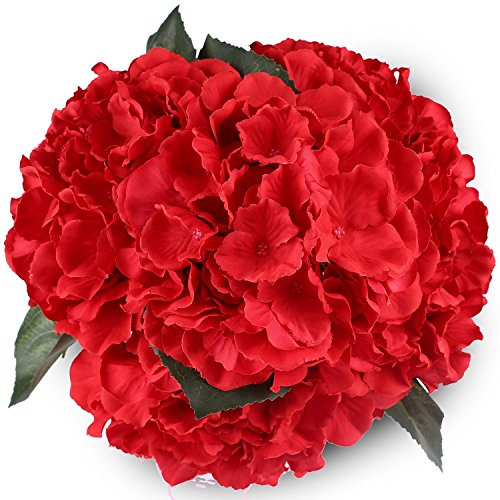 Hydrangea Silk Flowers Red 5 Heads SOLEDI Artificial Flower Arrangements Bunch Bridal Bouquet Wedding Bouquet for Home Garden Party Decoration Home (Arrangement Bouquet)