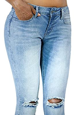 Womens Light Wash Distressed Cuff Bottom Skinny Jeans with Pockets