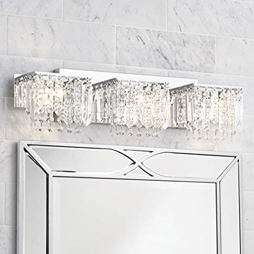 Modern Wall Light Chrome Crystal Strand 25 3 4 Vanity Fixture for Bathroom Over Mirror – Possini Euro Design