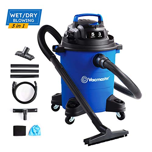 Vacmaster 3 HP 5 Gallon Wet Dry Vacuum Cleaner Portable Lightweight Shop Vacuum Powerful Suction for Dog Hair,Car,Garage,Workshop