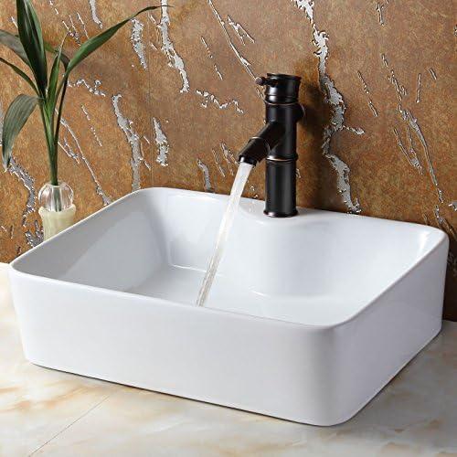 ELITE Bathroom Rectangle White Porcelain Ceramic Vessel Sink Bamboo Style Oil Rubbed Bronze Faucet Combo