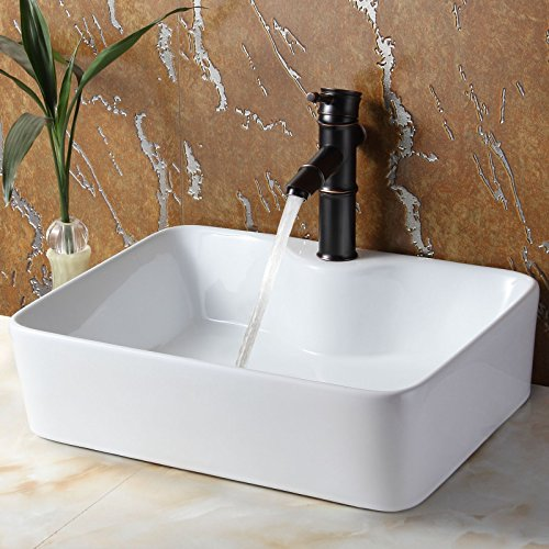 ELITE Bathroom Rectangle White Porcelain Ceramic Vessel Sink & Bamboo Style Oil Rubbed Bronze Faucet Combo (Bamboo Style Faucet)