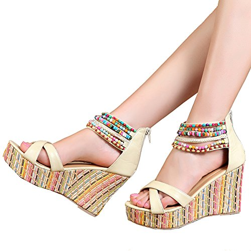 Top Women's Wedge High Across Heels Platform Sandals Pearls The getmorebeauty Khaki xqYdfOwq