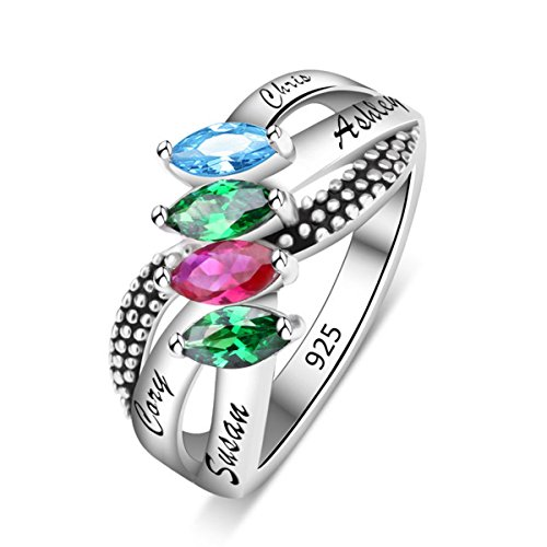 Quiges Mothers 925 Sterling Silver CZ Birthstone Personalized Engraved Name S Cross Shape Ring (Stones Mothers Shape Ring)