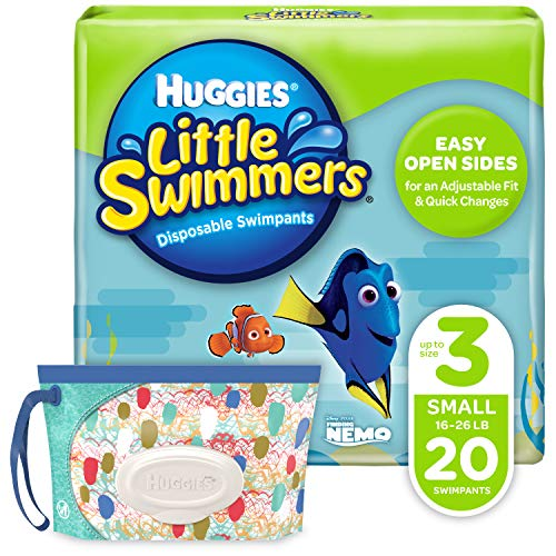 Huggies Little Swimmers Disposable Swim Diaper, Swimpants, Size 3 Small (16-26 Pound), 20 Count., with Huggies Wipes Clutch