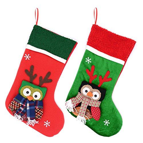 Cute Christmas Stockings - YAMUDA 2 Pack 2018 XMAS Christmas Stockings 3D Classic Large Christmas Stockings XMAS Decoration (Owls)