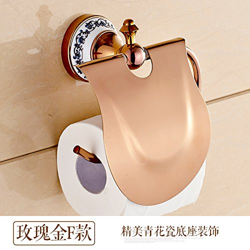 Surnoy All Copper Gilt Paper Towel Stand Golden Blue and White Porcelain European Roll Paper Holder Paper Towel Rack Toilet Paper Holder Paper Towel BoxF -