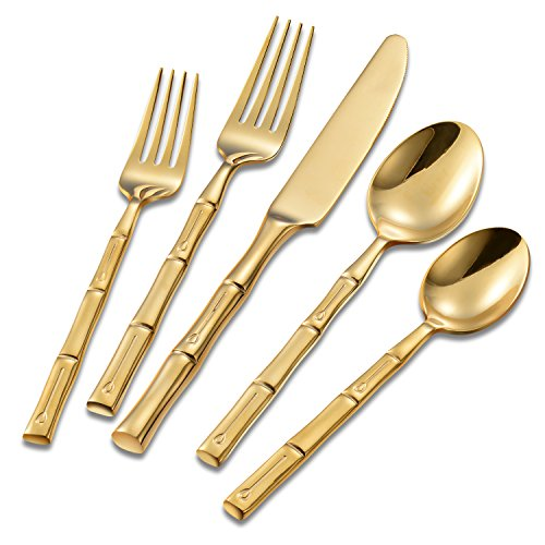 Flatasy Gold Forge Bamboo Mirror 5 Piece Flatware Set,Stainless Steel Cutlery Dinnerware,Service for 1