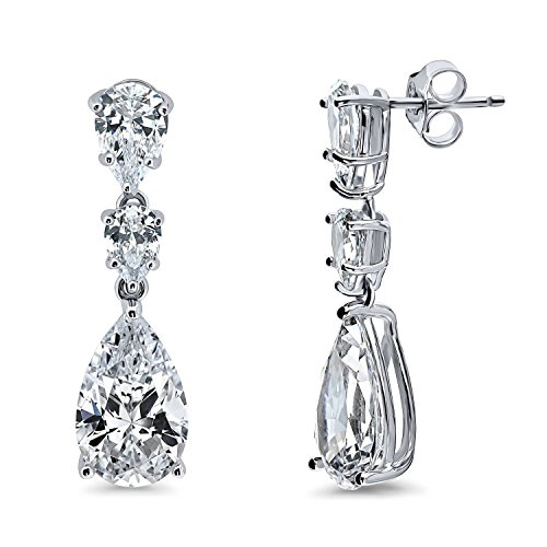 BERRICLE Rhodium Plated Sterling Silver Pear Cut Cubic Zirconia CZ 3-Stone Graduated Wedding Dangle Drop - Diamond Graduated Dangle Earrings