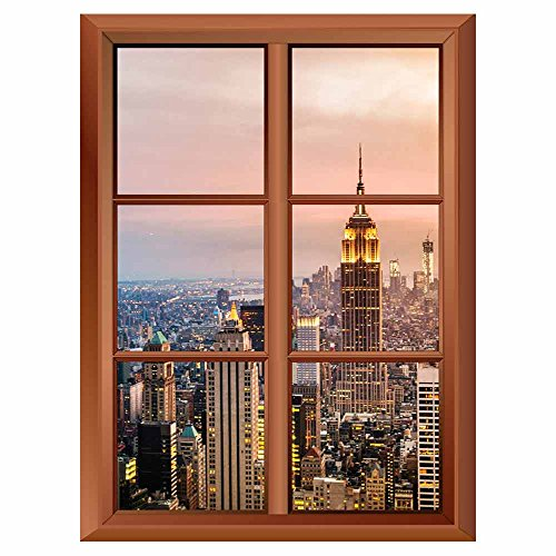 Removable Wall Sticker Wall Mural New York City Skyline with Urban Skyscrapers at Sunset Creative Window View Vinyl Sticker