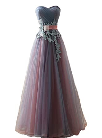 YSK A-line Tulle Prom Dresses Sweetheart Lace Sash Formal Evening Gowns