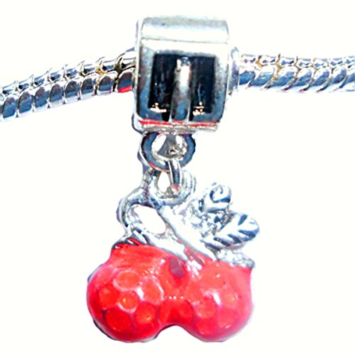 Charm Buddy Red Cherry Cherries Dangle Charm Fits Silver Pandora Style Bracelets ()