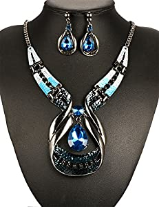plunger Chic Modern Art Crystal Water Drop Gemstone Necklace & Stud Earring Jewelry Sets
